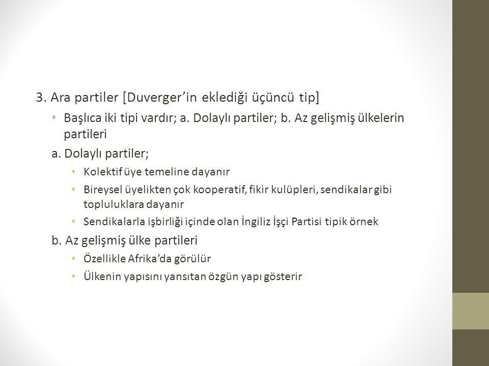 3. Ara partiler [Duverger'in eklediği üçüncü tip]